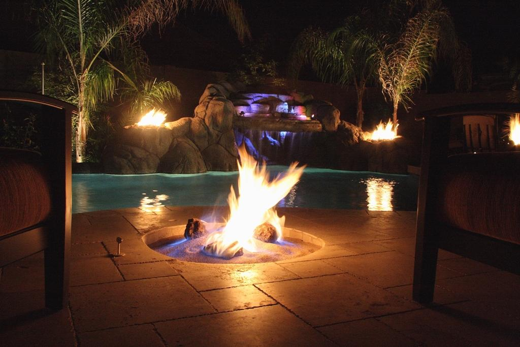 Come on baby light my fire pool fun fresno clovis for Pool and firepit design